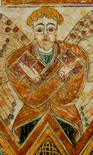 Изображение мужчины в рубахе с разрезом впереди, Book of Kells
